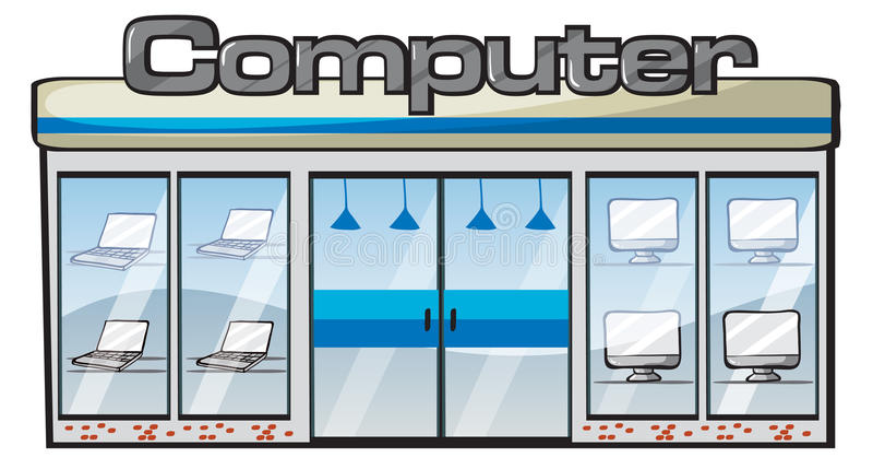 Ett datorlager stock illustrationer
