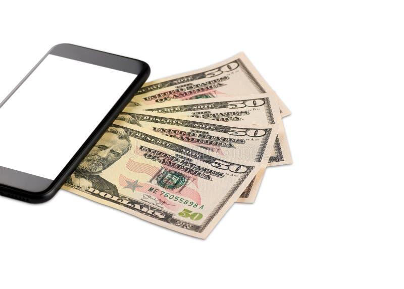 Ett detaljerat foto av en räkning för dollar femtio av mobiltelefonen - på en vit bakgrund royaltyfria foton