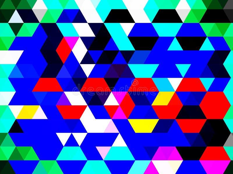Ett dramatiskt, flerfärgat geometriskt mönster av trianglar, fyrkanter och rektanglar vektor illustrationer