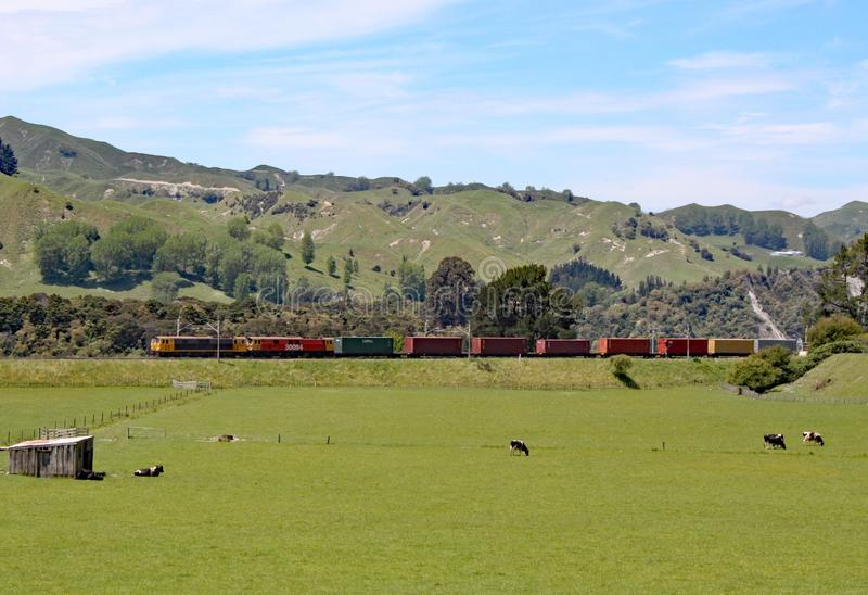 Ett dubbelt hövdat diesel- drev som drar godsvagnar i en avlägsen region av Nya Zeeland fotografering för bildbyråer