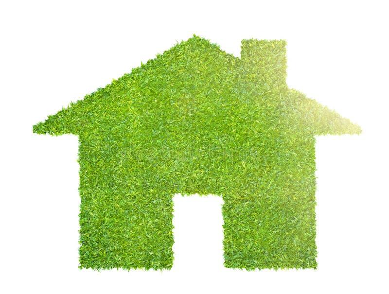 Ett ecohusbegrepp som göras av gräs stock illustrationer