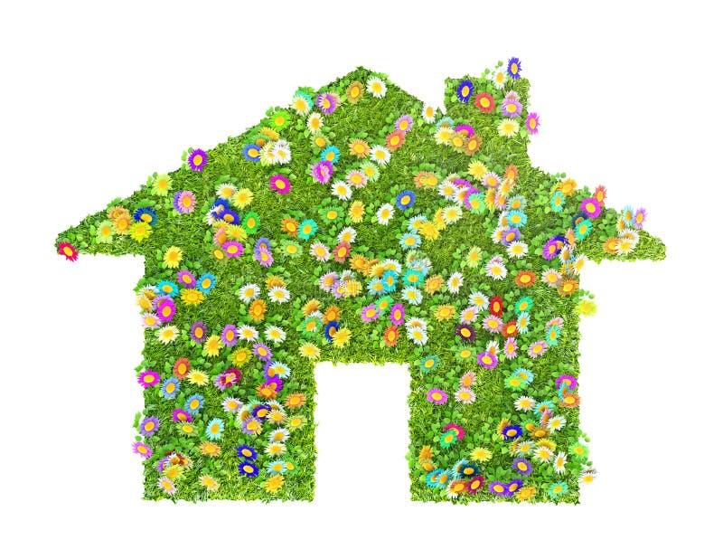 Ett ecohusbegrepp som göras av gräs och blommor vektor illustrationer