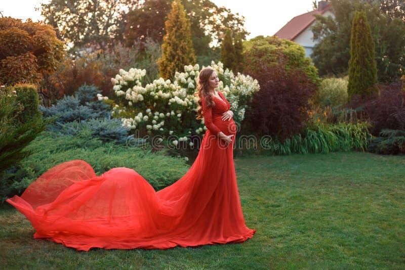 Ett elegant, gravid kvinna går i en härlig trädgård i en lyxig dyr röd klänning med ett långt drev kronärtskockan royaltyfri bild