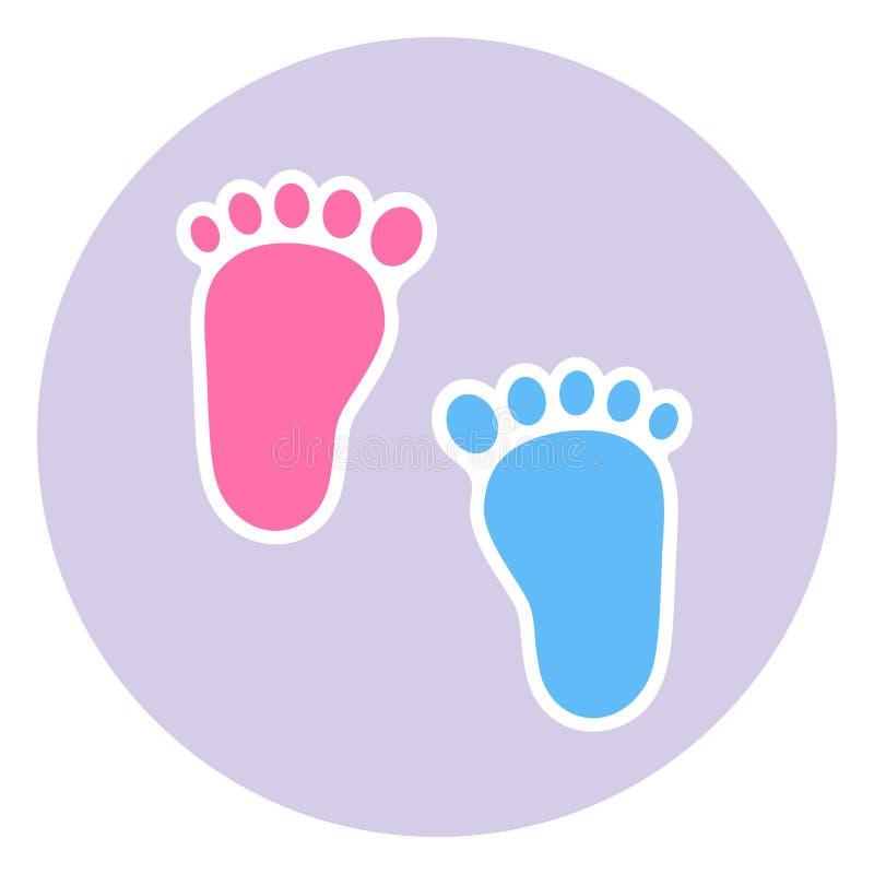 Ett emblem av fotspåret av barnet Behandla som ett barn tvilling- fotspår behandla som ett barn flickan och pojken royaltyfri illustrationer