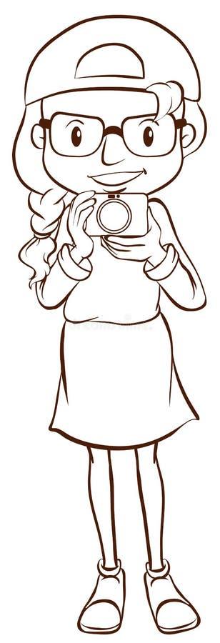 Ett enkelt skissar av en kvinnlig fotograf royaltyfri illustrationer