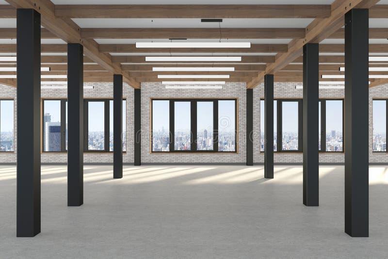 Ett enormt tomt rum med stora fönster som förbiser metropolisen, järnkolonnerna och trästrålarna i vindstilen konkret golv stock illustrationer