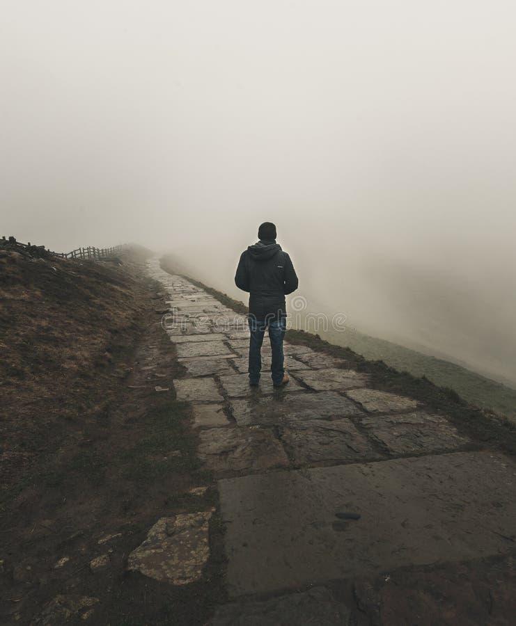 Ett ensamt diagram står se in i dimman längs en bana royaltyfri fotografi
