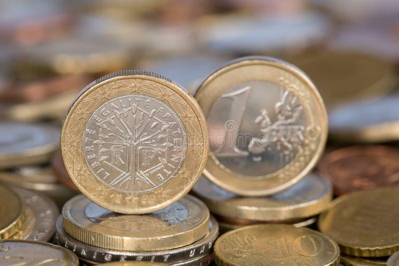 Ett euromynt från Frankrike arkivfoto