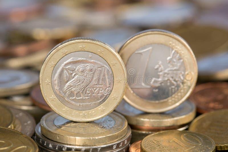 Ett euromynt från Grekland arkivfoto