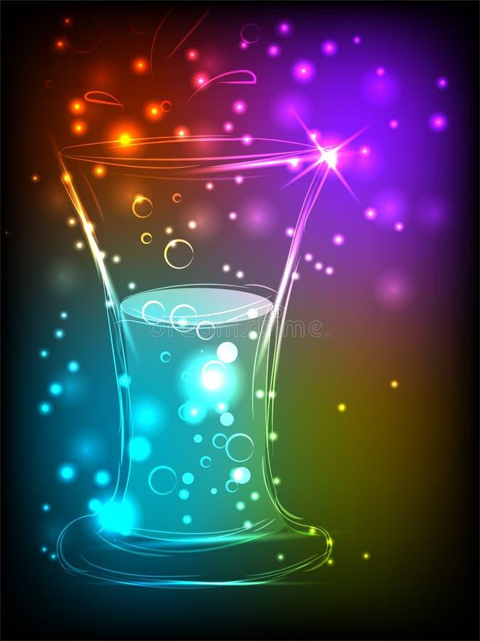 Ett exponeringsglas av öl på en ljus bakgrund med ett glöd av mångfärgade neonljus med ett ställe för annonsering vektor illustrationer