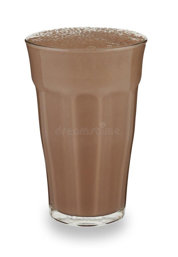 Ett exponeringsglas av chokladmilkshake royaltyfria bilder