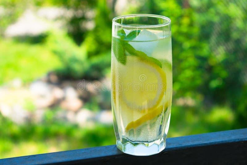 Ett exponeringsglas av lemonad med mintkaramellen på bakgrunden av nytt sommargräsplangräs Kyla drinken arkivbilder