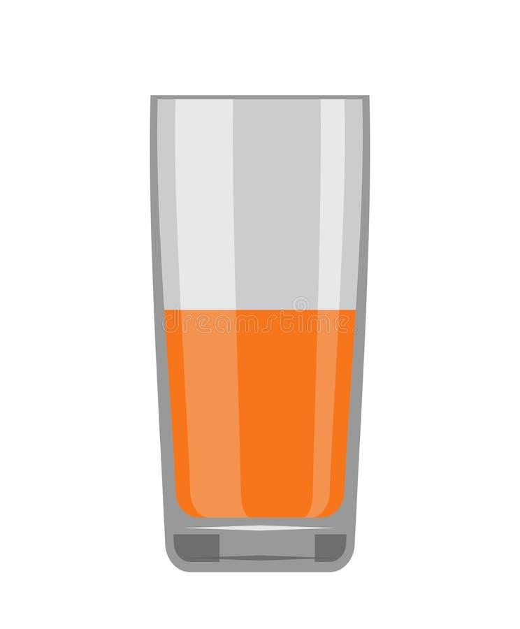 Ett exponeringsglas av orange fruktsaft för bantar och hälsa royaltyfri illustrationer