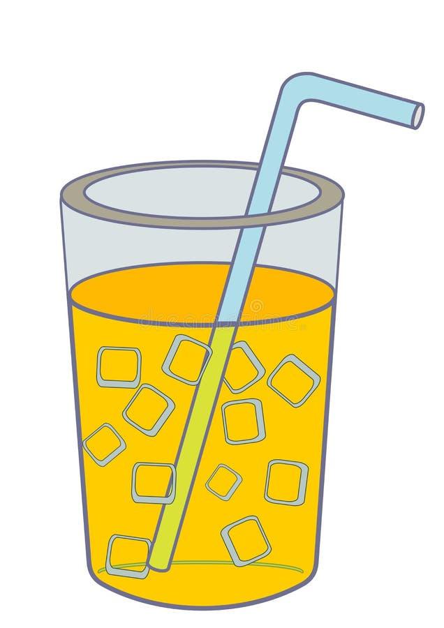 Ett exponeringsglas av retro klassiska stilillustrationer för orange fruktsaft vektor illustrationer