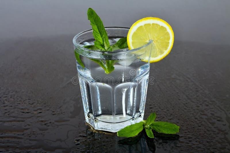 Ett exponeringsglas av vatten med citronen och mintkaramellen mellan droppar av vatten Uppfriskande drink för sommar arkivbild
