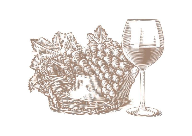 Ett exponeringsglas av vin och en korg av druvor stock illustrationer