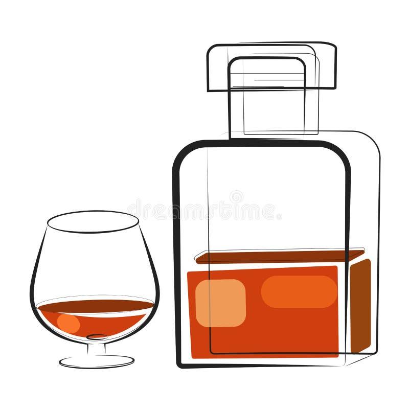 Ett exponeringsglas av whisky och en flaska Utdragen drinkvektor för hand stock illustrationer