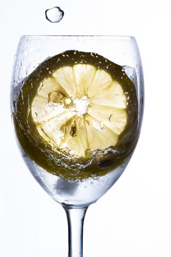 Ett exponeringsglas med vatten, is och citronen royaltyfri foto