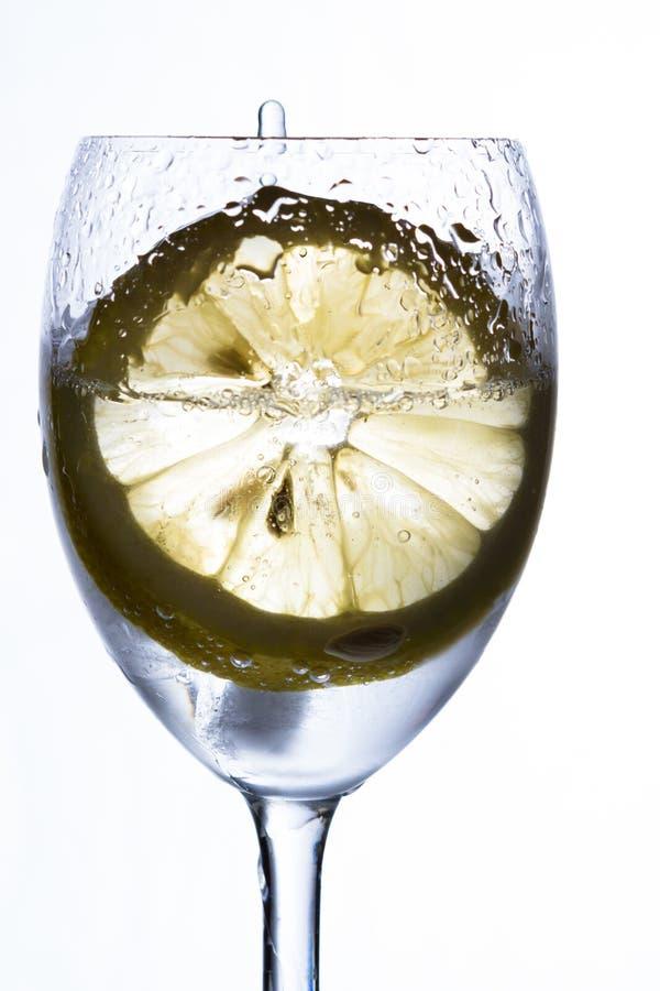 Ett exponeringsglas med vatten, is och citronen royaltyfria foton