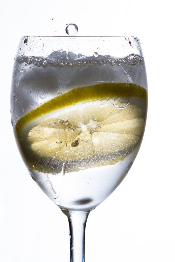 Ett exponeringsglas med vatten, is och citronen arkivfoto