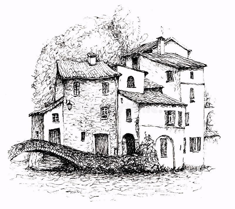 Ett färgpulver skissar av italienskt landskap som isoleras på vit bakgrund royaltyfri illustrationer