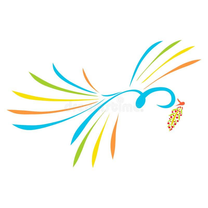 Ett färgrikt fågelflyg med en fatta i dess näbb vektor illustrationer