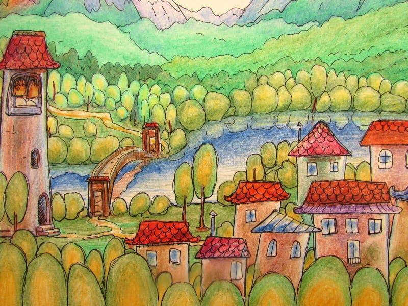 Ett färgrikt sagalandskap med en liten stad med hus och ett torn, en flod, berg och en skog stock illustrationer