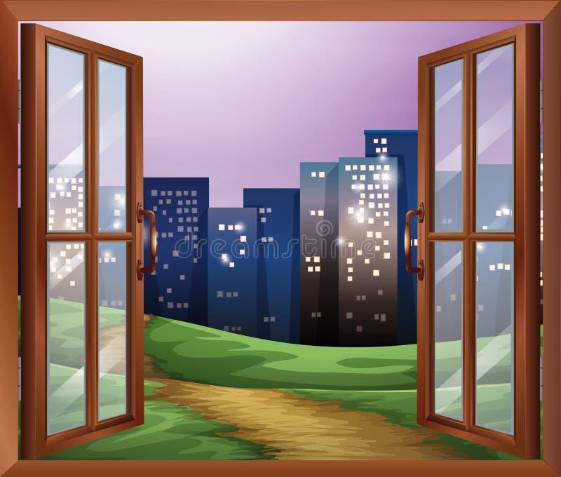 Ett fönster med en sikt av de högväxta byggnaderna stock illustrationer