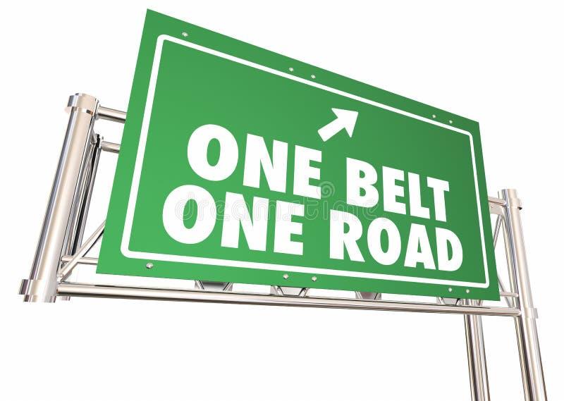 Ett för Kina för bälteväg tecken 3d Illustratio för motorväg för rutt siden- handel stock illustrationer