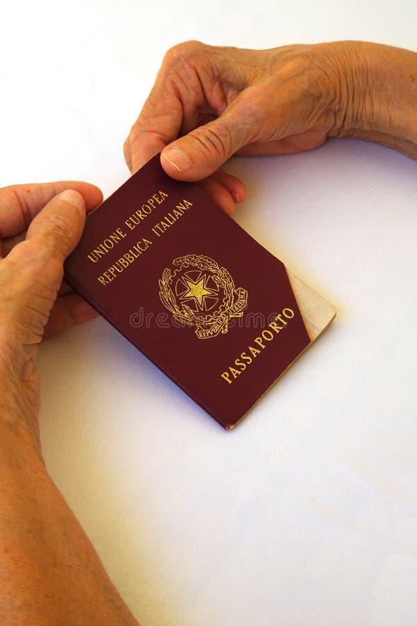 Ett förfallit pass i händerna av en gammal kvinna fotografering för bildbyråer