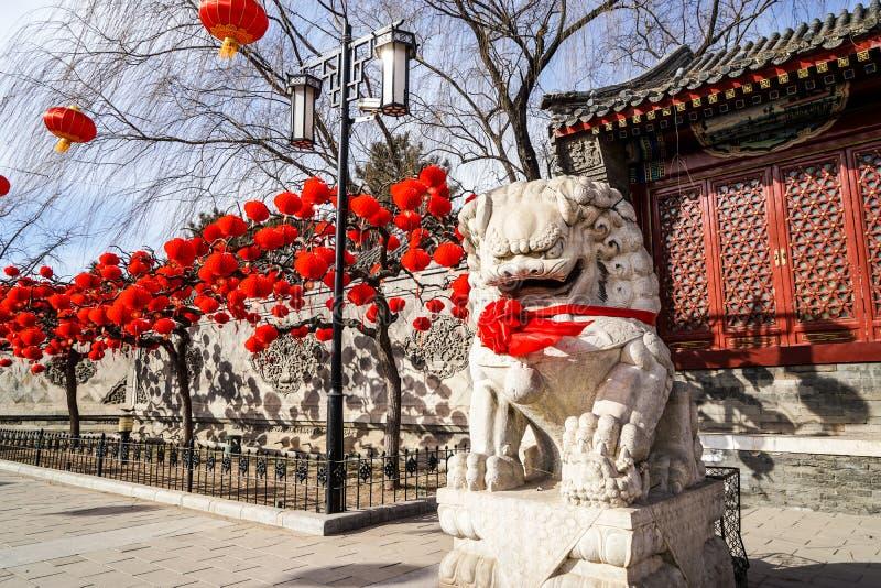 Ett förmyndarelejon i en historisk traditionell trädgård av Peking, Kina i vinter, under kinesiskt nytt år royaltyfria bilder