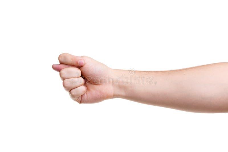 Ett förolämpa tecken fig. Handgest som isoleras på vit bakgrund arkivfoto