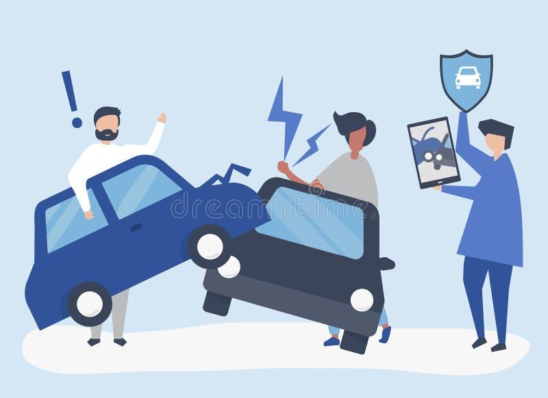 Ett försäkringmedel som löser en bilolycka royaltyfri illustrationer