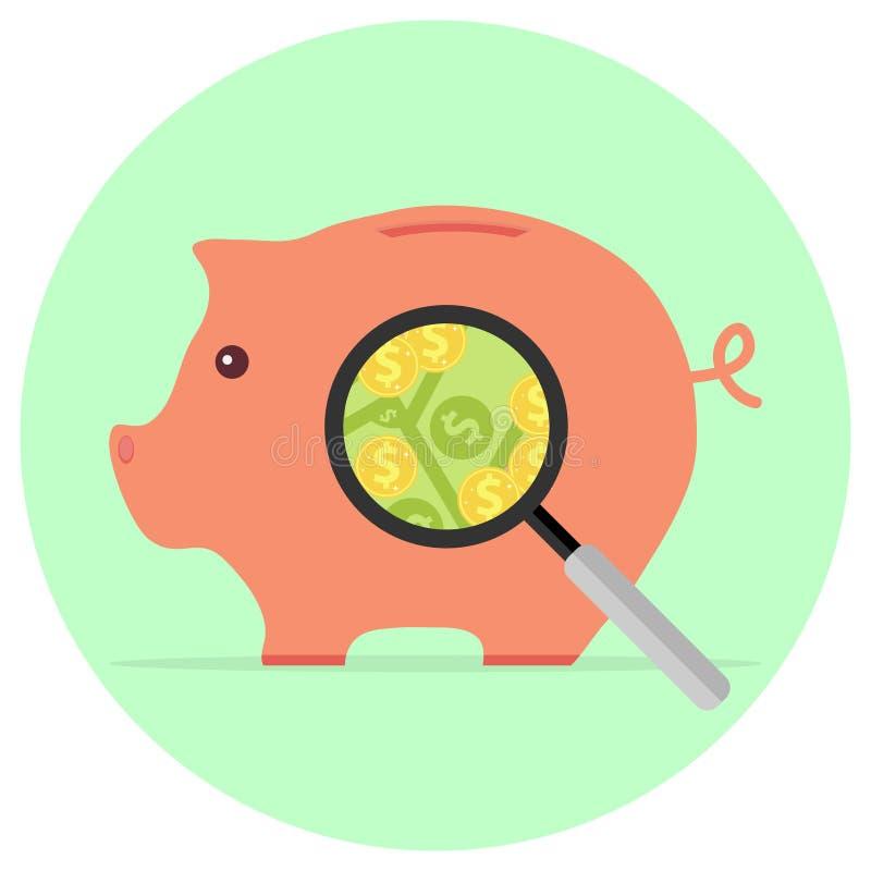 Ett förstoringsglas ser svinspargrisen med pengar royaltyfri illustrationer