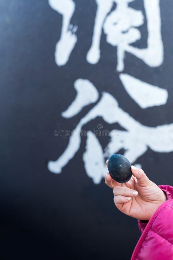 Ett fegt ägg för svart kokade i en källa för vätesulfid, Hanoke, Japan vertikalt royaltyfri bild