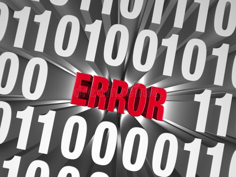 Ett fel döljer i datan vektor illustrationer
