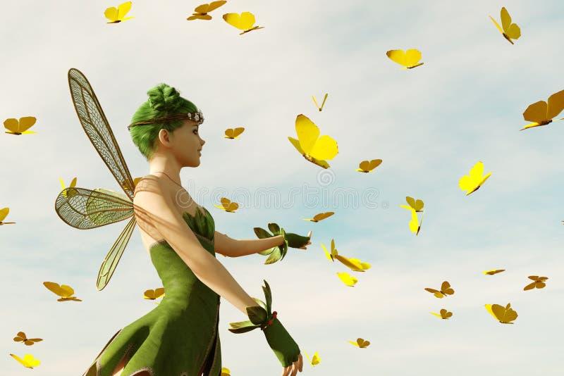 Ett felikt flyg på himlen royaltyfri illustrationer