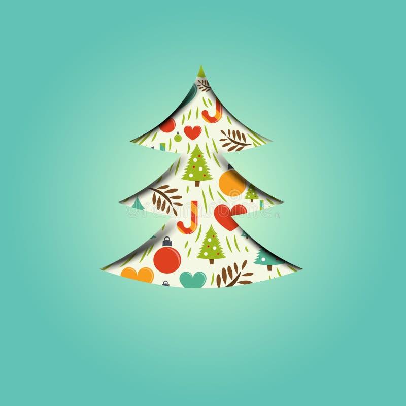 Ett festligt julträd vektor illustrationer