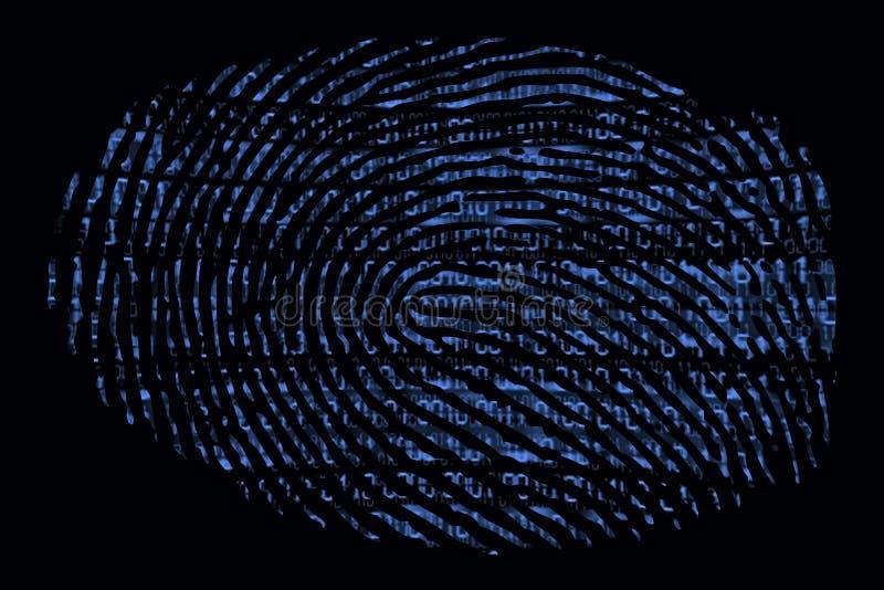 Ett fingeravtryck med en binär kod inom royaltyfri illustrationer