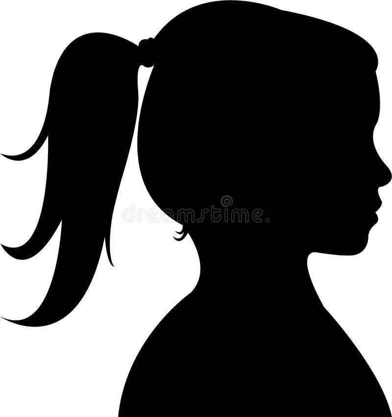 Ett flickahuvud, konturvektor royaltyfri illustrationer