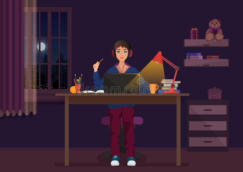 Ett flickasammanträde på bärbara datorn och arbete på den hemmastadda vektorillustrationen för natt royaltyfri illustrationer
