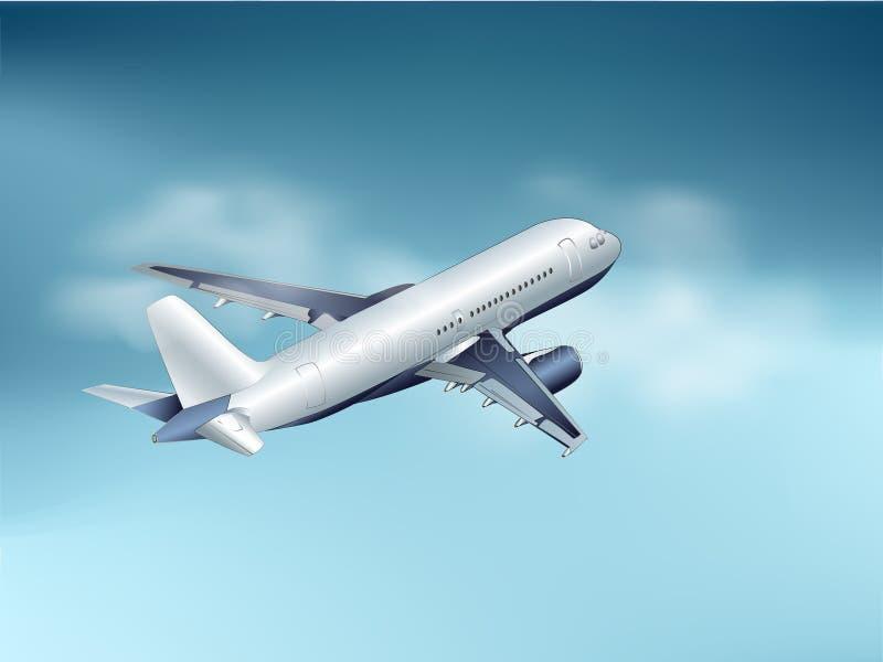 Ett flygplan är i moln arkivbilder