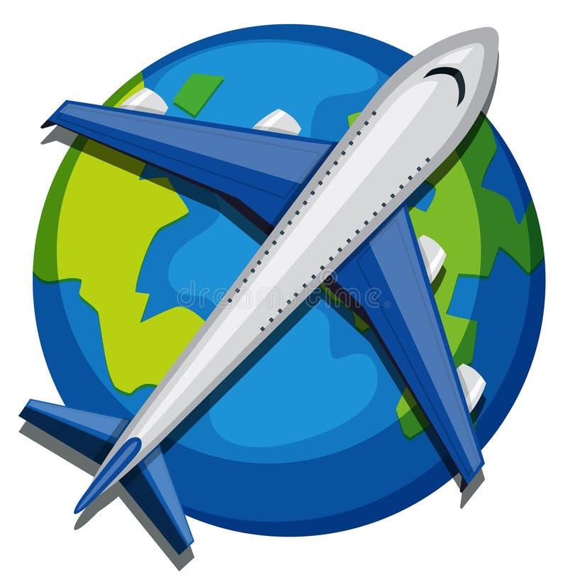 Ett flygplan över jordklotet på vit bakgrund royaltyfri illustrationer