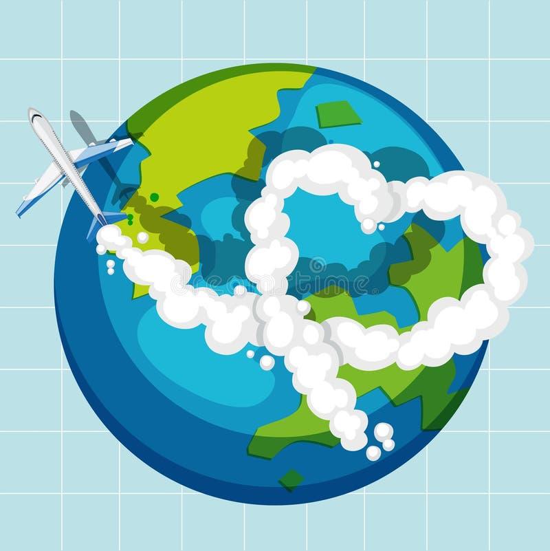 Ett flygplan som flyger över jordklotet royaltyfri illustrationer