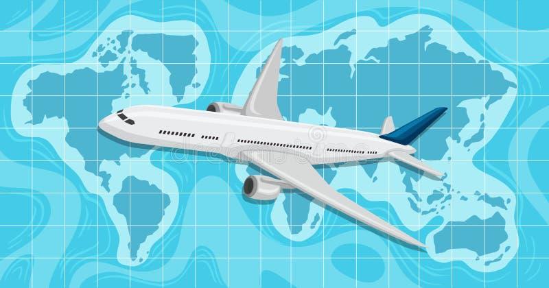 Ett flygplan som flyger över världskarta royaltyfri illustrationer