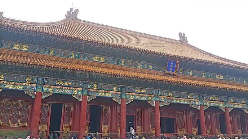 Ett formidabelt arkitektoniskt mästerverk i Forbiddenet City i Peking, Kina arkivbild