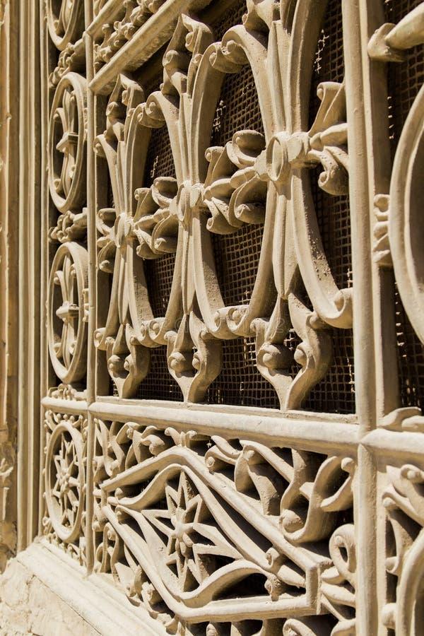 Ett forntida fönster av moskén av muhammad ali i Egypten royaltyfri bild