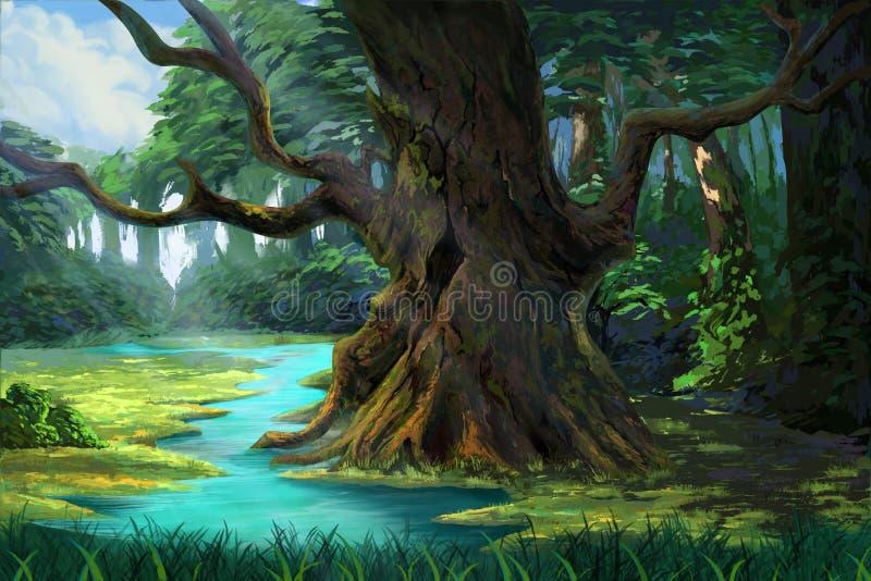 Ett forntida träd i skogen vid flodstranden royaltyfri illustrationer