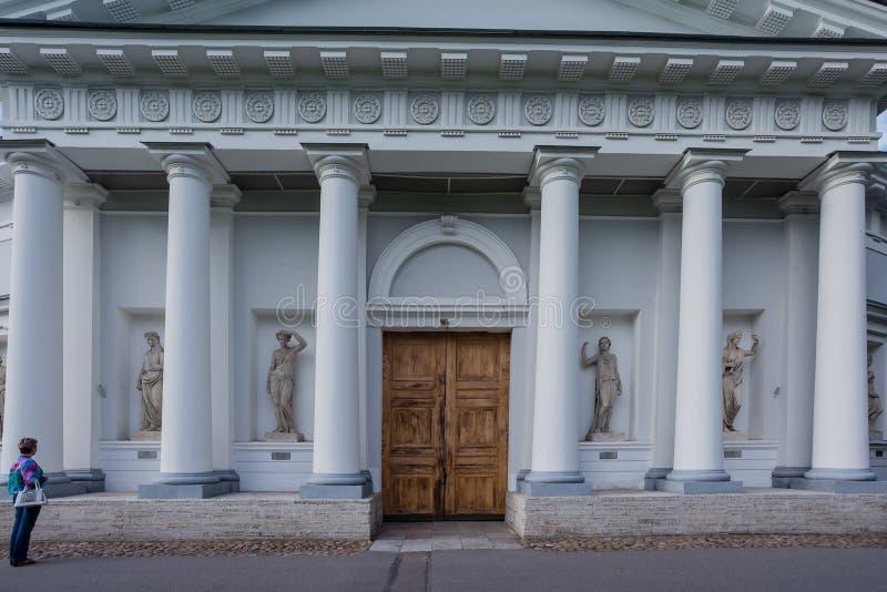 Ett fragment av en arkitektonisk struktur i staden av St Petersburg arkivbild