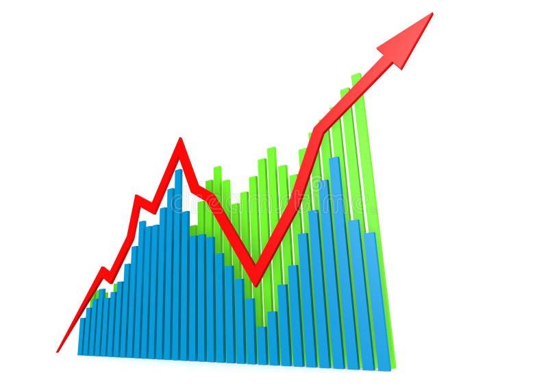 Gröna växande grafer för blått royaltyfri illustrationer